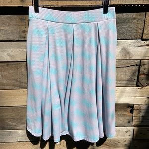 "LulaRoe Purple & Blue ""Madison"" Skirt Size Medium"